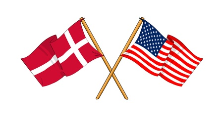 cartoon-like drawings of flags showing friendship between Denmark and USA