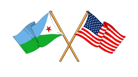 cartoon-like drawings of flags showing friendship between Djibouti and USA