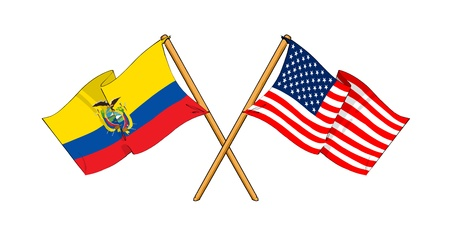 truce: cartoon-like drawings of flags showing friendship between Ecuador and USA