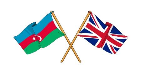 truce: cartoon-like drawings of flags showing friendship between Azerbaijan and United Kingdom Stock Photo