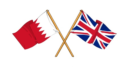 cartoon-like drawings of flags showing friendship between Bahrain and United Kingdom photo