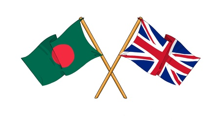 cartoon-like drawings of flags showing friendship between Bangladesh and United Kingdom
