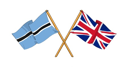 covenant: cartoon-like drawings of flags showing friendship between Botswana and United Kingdom Stock Photo
