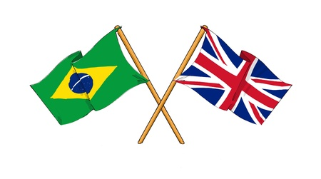 cartoon-like drawings of flags showing friendship between Brazil and United Kingdom