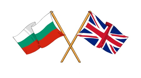 cartoon-like drawings of flags showing friendship between Bulgaria and United Kingdom photo