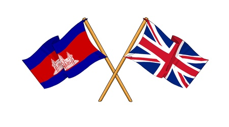 cambodian flag: cartoon-like drawings of flags showing friendship between Cambodia and United Kingdom