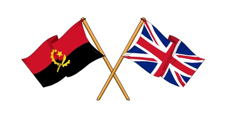 cartoon-like drawings of flags showing friendship between Angola and United Kingdom Stock Photo