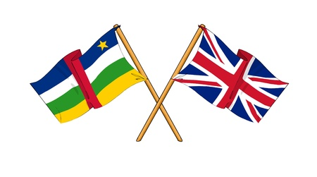 central african republic: cartoon-like drawings of flags showing friendship between Central African Republic and United Kingdom Stock Photo