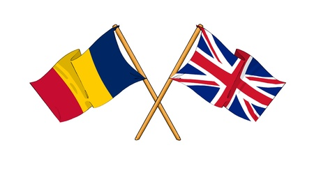 cartoon-like drawings of flags showing friendship between Chad and United Kingdom Stock Photo - 12166873