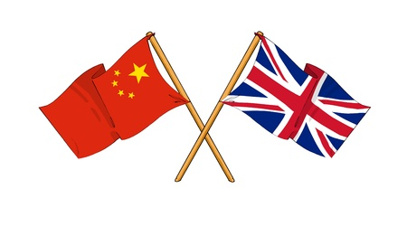 truce: cartoon-like drawings of flags showing friendship between China and United Kingdom