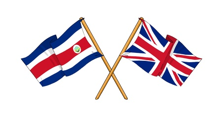 cartoon-like drawings of flags showing friendship between Costa Rica and United Kingdom Stock Photo - 12166885