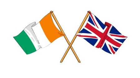 truce: cartoon-like drawings of flags showing friendship between Ivory Coast and United Kingdom