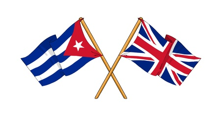 covenant: cartoon-like drawings of flags showing friendship between Cuba and United Kingdom