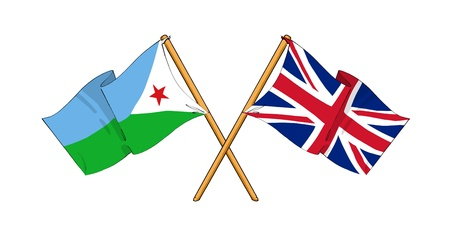 cartoon-like drawings of flags showing friendship between Djibouti and United Kingdom Stock Photo