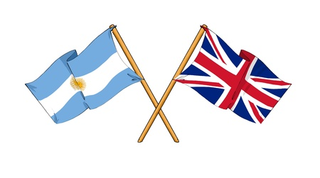 cartoon-like drawings of flags showing friendship between Argentina and United Kingdom