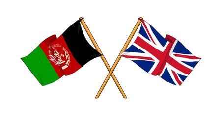 afghan: cartoon-like drawings of flags showing friendship between Afghanistan and United Kingdom