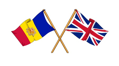 cartoon-like drawings of flags showing friendship between Andorra and United Kingdom Stock Photo - 12166891