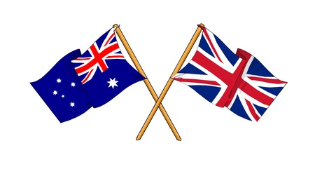 sidney: cartoon-like drawings of flags showing friendship between Australia and United Kingdom