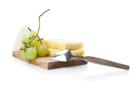 edam: cheeseboard of hard and blue cheese with grapes
