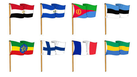 cartoon-like dawings of some of the most popular flags in the world: letter E, F & G photo