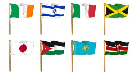 cartoon-like dawings of some of the most popular flags in the world: letter I, J & K photo