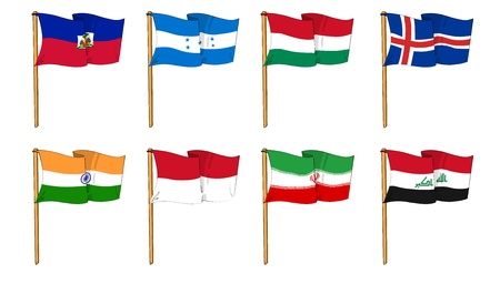 cartoon-like dawings of some of the most popular flags in the world: letter H & I photo