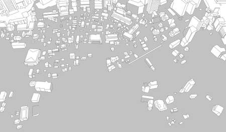 Abstract city map hand-drawn in perspective photo