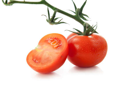 ripened: perfect tomatoes on white background