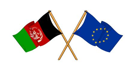 truce: cartoon-like drawings of flags showing friendship between EU and Afghanistan