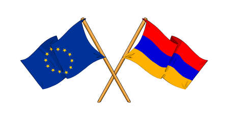 truce: cartoon-like drawings of flags showing friendship between EU and Armenia