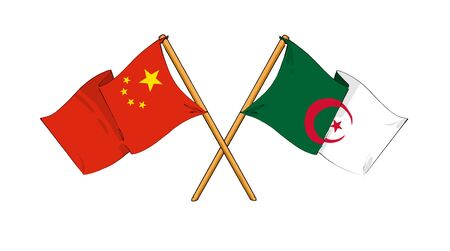 cartoon-like drawings of flags showing friendship between China and Algeria photo