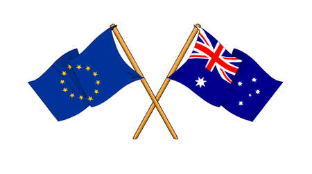 truce: cartoon-like drawings of flags showing friendship between EU and Australia