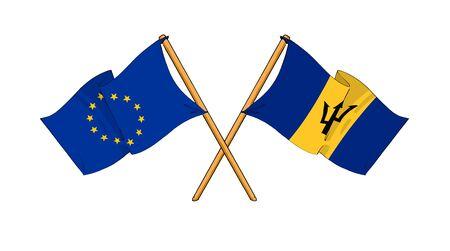 barbadian: cartoon-like drawings of flags showing friendship between EU and Barbados