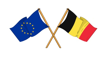 eu: cartoon-like drawings of flags showing friendship between EU and Belgium Stock Photo