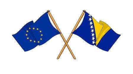 bosnian: cartoon-like drawings of flags showing friendship between EU and Bosnia and Herzegovina