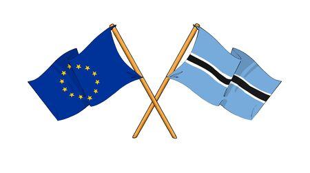 truce: cartoon-like drawings of flags showing friendship between EU and Botswana Stock Photo