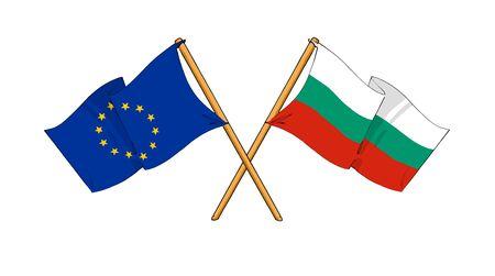 dessin-comme des dessins de drapeaux montrant l'amitié entre l'UE et la Bulgarie