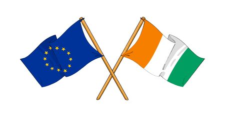 truce: cartoon-like drawings of flags showing friendship between EU and Ivory Coast
