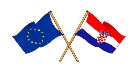 cartoon-like drawings of flags showing friendship between EU and Croatia photo