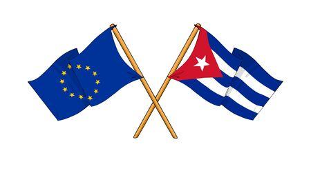 truce: cartoon-like drawings of flags showing friendship between EU and Cuba Stock Photo