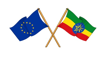 cartoon-like drawings of flags showing friendship between EU and Ethiopia photo