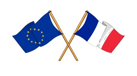 cartoon-like drawings of flags showing friendship between EU and France