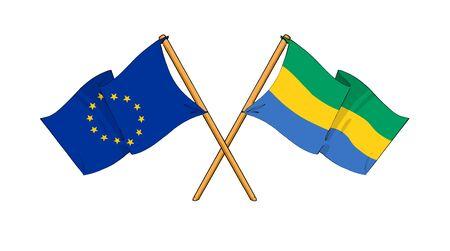 truce: cartoon-like drawings of flags showing friendship between EU and Gabon