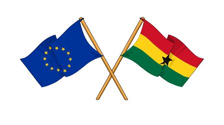 truce: cartoon-like drawings of flags showing friendship between EU and Ghana
