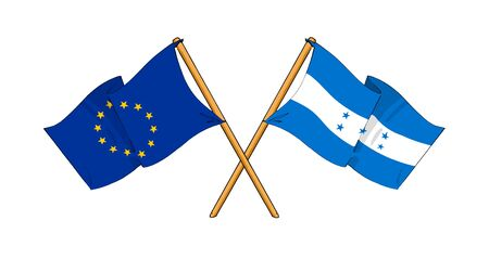 truce: cartoon-like drawings of flags showing friendship between EU and Honduras Stock Photo