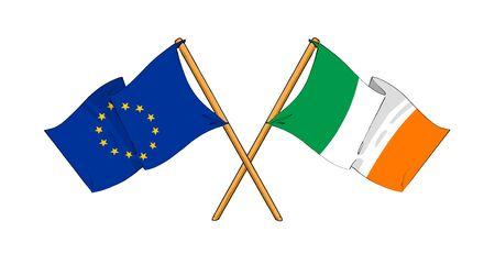 truce: cartoon-like drawings of flags showing friendship between EU and Ireland