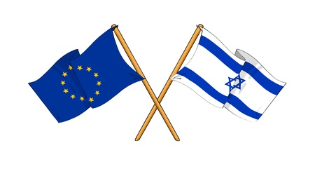 cartoon-like drawings of flags showing friendship between EU and Israel photo