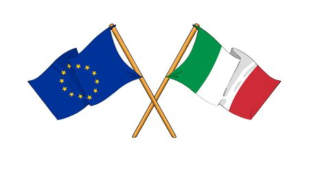 truce: cartoon-like drawings of flags showing friendship between EU and Italy