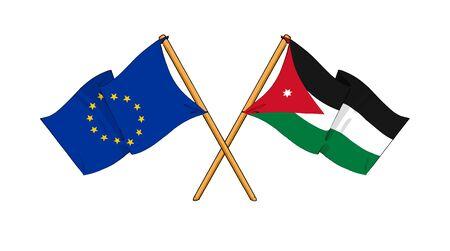 cartoon-like drawings of flags showing friendship between EU and Jordan photo