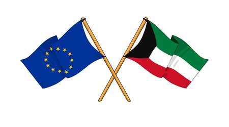 truce: cartoon-like drawings of flags showing friendship between EU and Kuwait